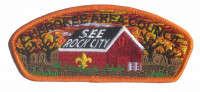 See Rock City - Fall - Red Barn (Orange Border) Cherokee Area Council #469