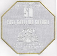 Camp Boddie 50th Anniversary STAFF Back Patch (PO 88722) East Carolina Council #426