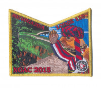 K124300 - Calumet Council - NOAC Patch Michigamea Squirrel Pocket (Gold Metallic) Calumet Council #152