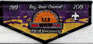Patch Scan of Bay Area Council Wihinipa Hinsa Lodge 113 100 Anniversary 1919 - 2019