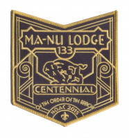 K123145 - LFC MA NU LODGE OA CENTENNIAL POCKET BOTTOM PATCH Last Frontier Council #480