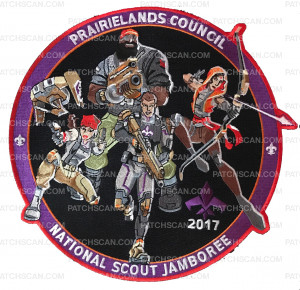 Patch Scan of Prairielands Council National Jamboree Set 2017 Saints Row & Agents of Mayhem