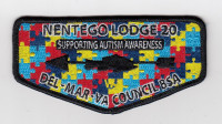 Nentego Lodge 20 Supporting Autism Awareness Flap Del-Mar-Va Council #81