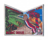 K124301 - Calumet Council - NOAC Patch Michigamea Squirrel Pocket (Silver Metallic) Calumet Council #152
