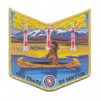 K123820 - TUPWEE 536 100 YEARS OF SERVICE - NOAC  POCKET PATCH (GOLD METALLIC) Rocky Mountain Council #63