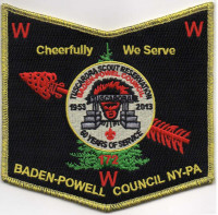 TUSCARORA 60 YEARS SHIELD GOLD Baden-Powell Council #381