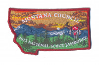 MONTANA COUNCIL - 2013 JAMBOREE STATE SHAPE PATCH (RED BORDER) Montana Council #315