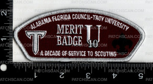 Patch Scan of Alabama-Florida Council Troy University Decade Of Service To Scouting 2019