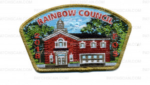 Patch Scan of Rainbow Council 2018 FOS CSP Gold Metallic Border