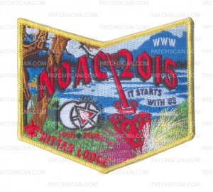 Patch Scan of K124076 - Twin Rivers Council - Kittan Lodge NOAC Pocket Piece (Gold)