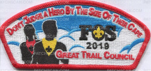 Patch Scan of Don't Judge a Hero by the Size of  Great Trail Council FOS 2019 csp