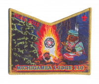 K124309 - Calumet Council - NOAC Patch Michigamea Small Squirrel Pocket (Gold Metallic) Calumet Council #152