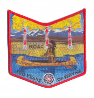 K123645 - TUPWEE 536 100 YEARS OF SERVICE - NOAC  POCKET PATCH (RED) Rocky Mountain Council #63